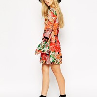 ASOS 70's Swing Dress with Flared Sleeves in Mixed Paisley