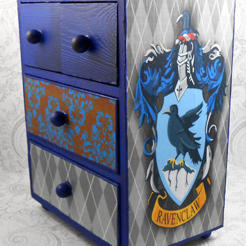 Custom Ravenclaw Blue Harry Potter Stash Jewelry Box