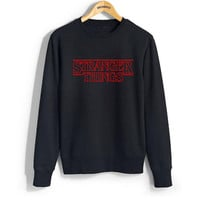 STRANGER THINGS Black Hoodies Women Autumn Winter Letter Pritned Crewneck Sweatshirts Long Sleeve Casual Hoody Tops