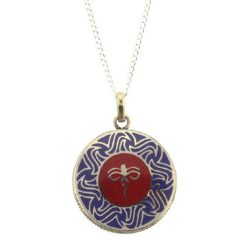 "Buddha Eye On A Blue Background Round Pendant - Size: 1.5"" In Diameter - Necklace Included"