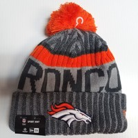 Denver Broncos New Era Knit Hat Gray 2017 Sideline Beanie Stocking Cap NFL