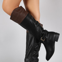 Bamboo Two Tone Buckle Riding Knee High Boots
