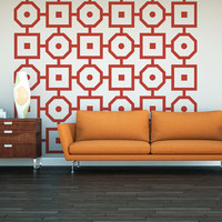 Wall Decals Retro Geometric Mod Mid Century Modern Octagon Square Pattern Abstract Mad Men Decor Shapes