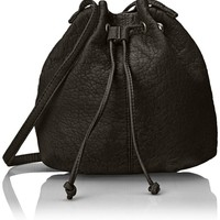 Wild Pair Drawstring Bucket Shoulder Bag, Black, One Size