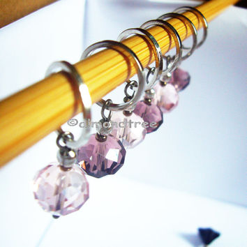 6 pink and purple knitting stitch markers, snag free accessories, id1360888, snagless, stitchmarkers, pattern aides, yarn markers