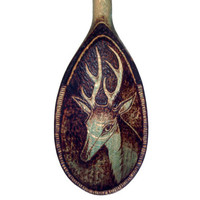 Deer Wood burning, Pyrography Wooden Spoon, Deer Wall hanging, Deer decor, deer wall art, pyrography stag, wood burned spoon, Deer gift, UK