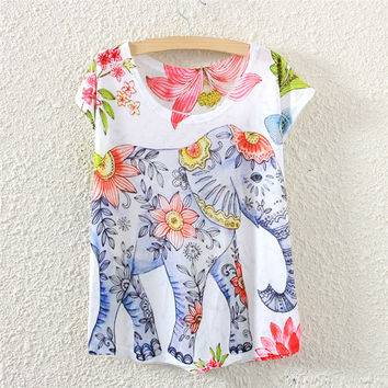 Love the Elephants Blue Hand Painted Batwing Sleeves T-shirt - Love Elephant Collection