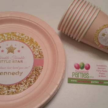 Pink and gold plates and cups | Twinkle Twinkle Little Star plates | baby shower plates | First birthday plates