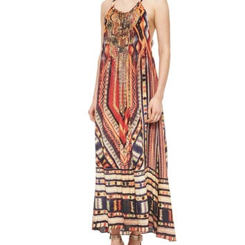 Printed Beaded Racerback Coverup Dress, Size: ONE SIZE, CHIAPAS DANCE - Camilla
