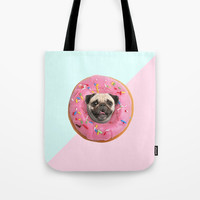 Pug Strawberry Donut Tote Bag by lostanaw