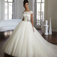 9033 2015 2016 lace White Ivory Wedding Dresses for brides plus size maxi formal with train size 2 4 6 8 10 12 14 16 18 20 22 24
