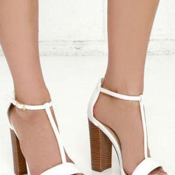 ONETOW There and Everywhere White T-Strap High Heel Sandals