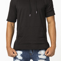 The Evans Short Sleeve Extended Hoodie in Black