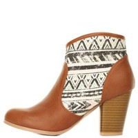 Cognac Qupid Aztec Canvas Chunky Heel Booties
