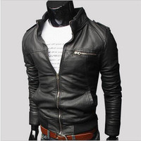 Men's Fashion Zippers PU Leather Men Jacket [6528920067]