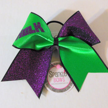 Hulk Super Hero Large Cheer Bow Hair Bow Cheerleading