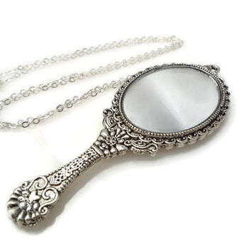 Antique Silver Mirror Necklace, silver plated necklace, hand mirror, small mirror necklace,mirror,necklace,hand mirror,pendant,jewelry,gifts