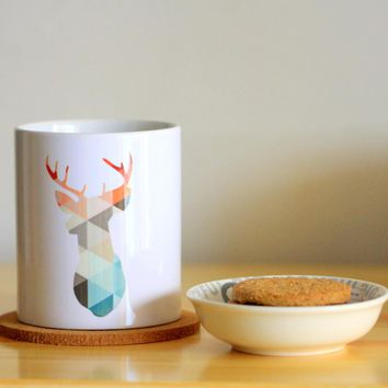 Gemoetric Deer Ceramic Mug Coffee Cup Milk Mug With Handgrip 320ml Home Decoration 11oz