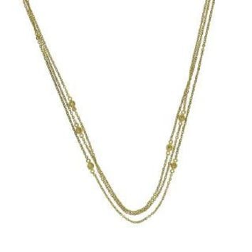 0.05ct 14k Yellow Gold Diamond Bezel 3 Chain Necklace