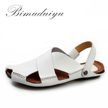 Summer New Arrival Soft Leather Beach Sandals Handmade Genuine Leather Casual Mens bre