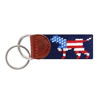 Patriotic Dog on Point Key Fob by Smathers & Branson