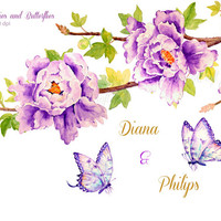 Wedding Clipart - Watercolor purple peonies, blue butterflies and branch printable instant download for greeting cards wedding invitations