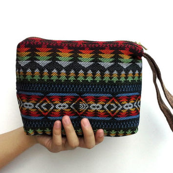 Navajo Cosmetic bag, Southwestern Makeup bag, Zip top bag, Tribal Clutch bag, Cute pencil pouch, Womens Wristlet purse, Gift Ideas for her