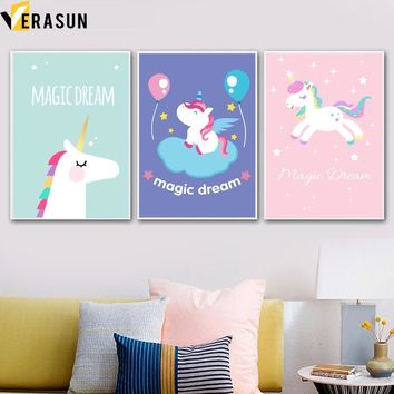 VERASUN Unicorn Art Print Poster Wall Art Canvas Painting Nordic Style Kids Decoration Cuadros Decoracion Baby Girl Room Decor