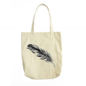 Feather Tote Bag, Feather Illustration, Girlfriend Gift, Womens Accessories, Boho Bag, Gifts For Women, Bohemian Accessories, Modern Art