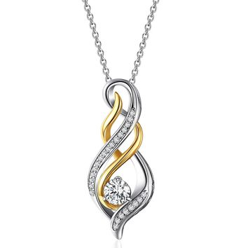 "Two-Tone Sterling Silver Cubic Zirconia Diamond Accent ""MOM"" Flame Twist Pendant Necklace Valentines Day Gift for Women"