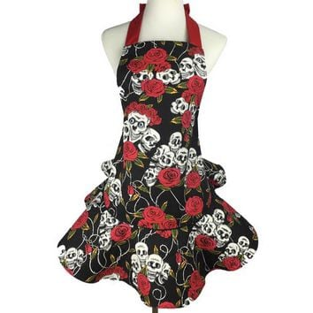 Rose, Skull Cotton Apron