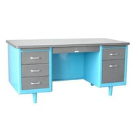 "Twenty Gauge Tanker Desk 60"". Shown with top and drawers steel, casing blue. Other colors available - Vintage Steel - Store Vintage Steel Furniture"