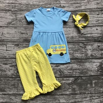 Back to School Outfit-Bus with ruffles and matching headband
