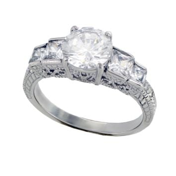Lovable - FINAL SALE Quality Craftsmanship Engagement Ring with Round Cut Cubic Zirconia Center Stone
