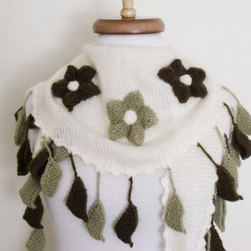 Dark And Light Green-Cream Spring Scarf -Little Shawl-Ready For Shipping