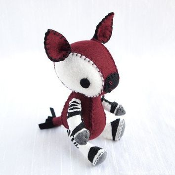 Visola the Okapi Wool Felt Plush Art Doll MADE by nonesuchgarden
