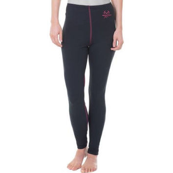Realtree Women's Performance Midweight Thermal Bottoms, Large, Black/Pink