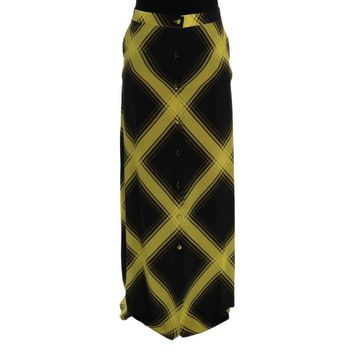 House Of Holland Yellow Black Silk Long Straight Skirt
