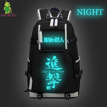 Cool Attack on Titan Anime  Luminous Backpack for Teenage Girls Boys Laptop Backpack Student School Bags Women Men Travel Rucksack AT_90_11