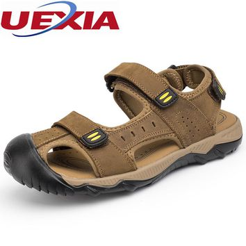 Walking Beach Big Size 48 Leather Zapatos Masculino Outdoor Sport Casual Sandals Chaussure Shoes Designer Flats Water Upstream