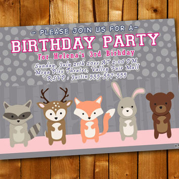 Woodland Friends forest animal fox deer bear, Birthday Invitation, Birthday Party for little boy and little girl