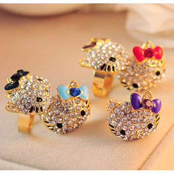 5 colors Lovely hello kitty Jewelry Crystals Lady Rings Gold Plated Resizable Fashion Party Child Girls rings Gift Accessories