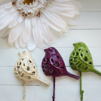 Hostess Gift / Gift Idea / Woodland Decor / Filigree Bird Hook / Fixture / Wall Hanging / Garden Decor / Hook / Nature / Animal Decor