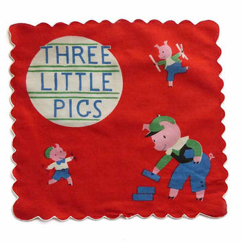 Three Little Pigs Kids Vintage Hankie Antique 1940s Childs Handkerchief Children's Story Time Hanky Nursery Rhyme Fairy Tale Framed Gift