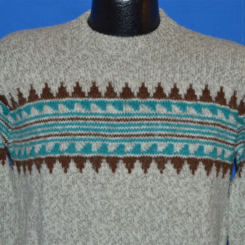 70s Pendleton Lobo Western Wear Gray Wool Native Print Pullover Sweater Medium
