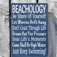 Beach Sign Beachology New Unique Beach House Plaque Rules Lessons Poem Decor Advice Ocean Wood Plaque Nautical Wall Art Coastal Summer Signs