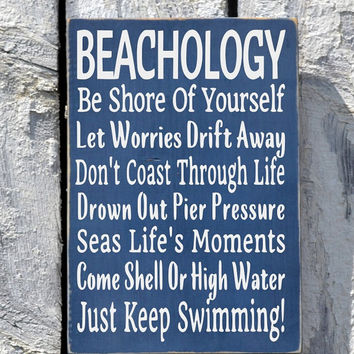 Beach sign beachology new unique beach from farmhouse1920 on etsy beach sign beachology new unique beach house plaque rules lessons poem decor advice ocean wood plaque solutioingenieria Gallery