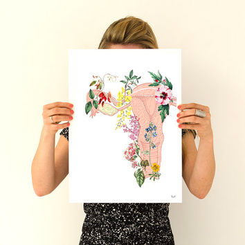 Flowery uterus collage -Woman gift - Feminist art- Wall decor art, Anatomical home decor, Pregnancy gift, Giclee poster gifts for her PWS068
