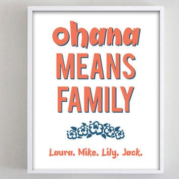Ohana Means Family Names Customized Typography White Minimalistic Art Personalized Family Sign Custom Print Gift