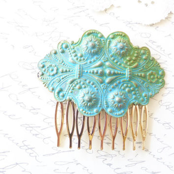 Verdigris Floral Ornate Victorian Hair Comb - Woodland Collection - Whimsical - Nature - Bridal - Patina